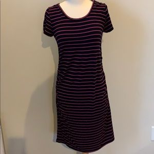 Navy & Hot Pink stripe Maternity tee shirt dress